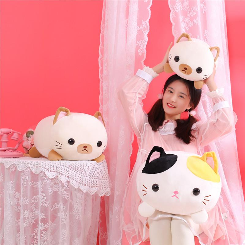 35/45cm Lovely Lying Cat Plush Soft Pillow Cute Stuffed Animal Toys Doll Kawaii Toys for Kids Girls Valentines Birthday Gift