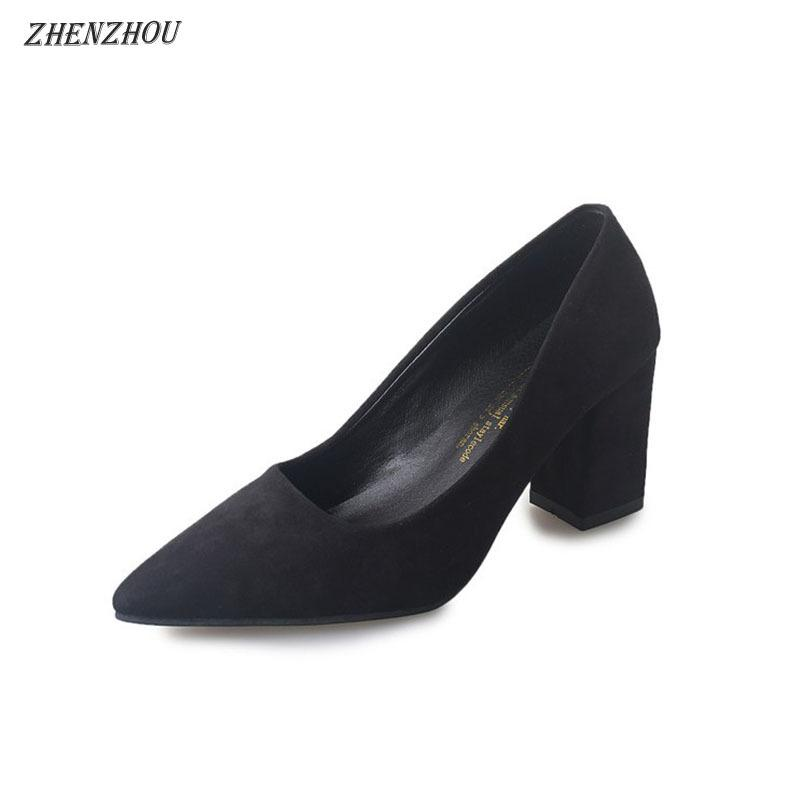 2b162d75817e 2019 Dress Pumps 2018 Pointed High Heeled Shoes With Heel With A Shallow  Mouth Female Red Bride Shoes Black Wild Suede Shoes Silver High Heels  Birkenstock ...