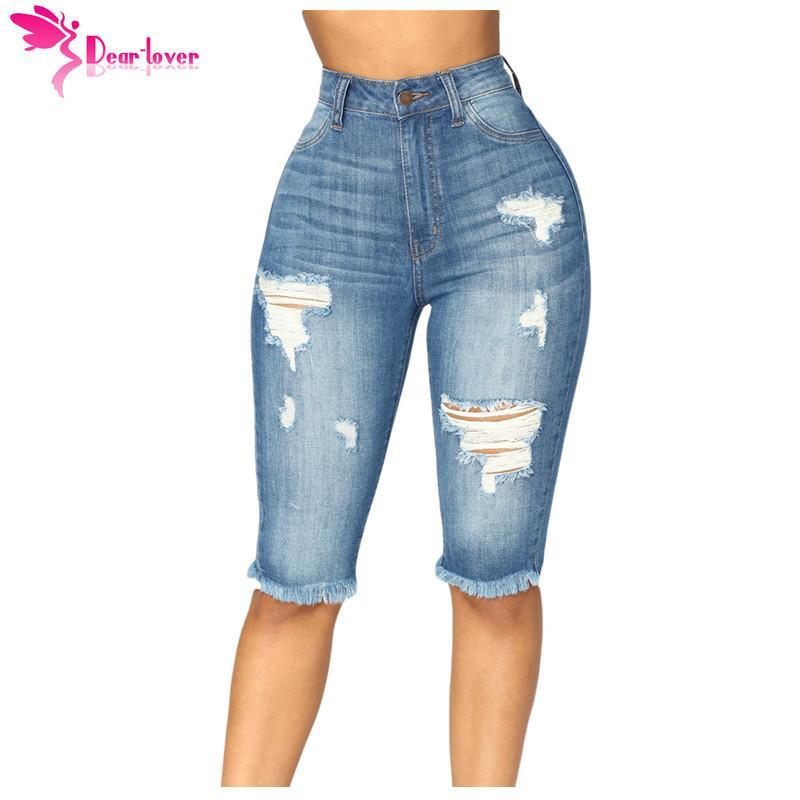 e7410475d4e 2019 Dear Lover High Waist Skinny Jeans Medium Blue Wash Denim Destroyed  Bermuda Knee Length Shorts Feminino Plus 2xl Pants Lc786021 Y190430 From  Gou02, ...