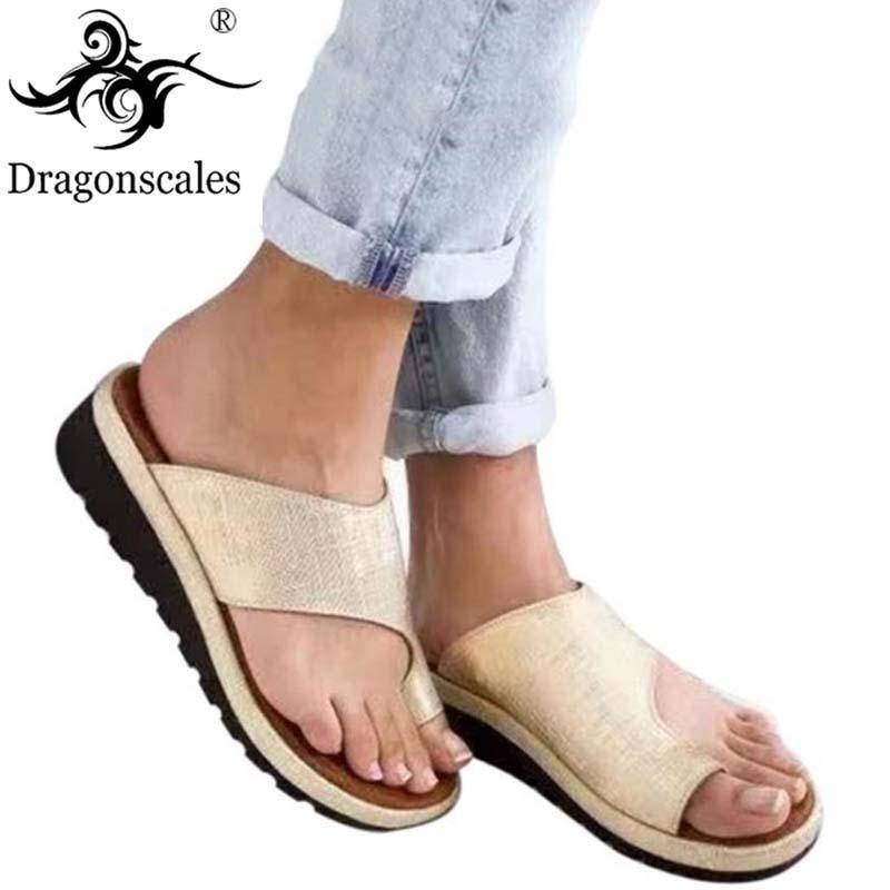 Cómoda Sandalias Pie Grande Ortopédica Punta Del Corrector De Corrección Suela Señoras Moda Zapatos Cuero Mujeres Suave Plataforma Pu La Nvm8w0n