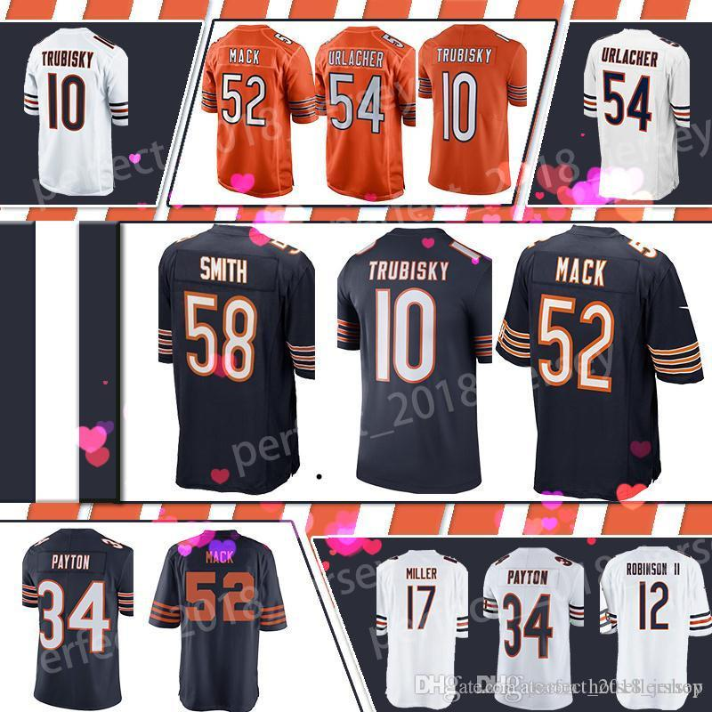 low priced 2b708 465fd Chicago Bears Football Jersey 52 khalil Mack 10 Mitchell Trubisky 54 Brian  Urlacher 58 Roquan Smith 34 Walter Payton 17 Anthony Miller
