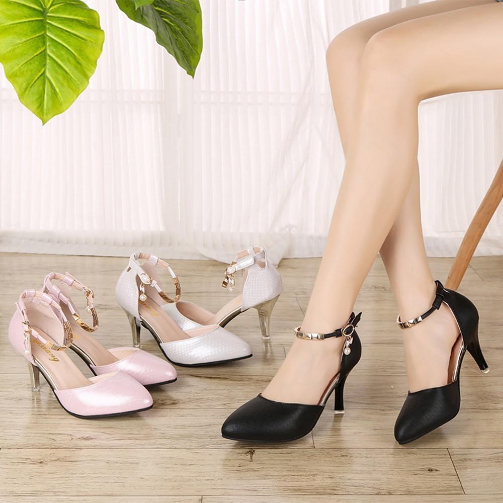f434770f Compre Zapatos De Mujer Tacon 2019 Boca Baja Delgado Tacones De Aguja Moda  Sexy Banda Palabra Salvaje Zapato Individual Zapatos Mujer Zapatillas # 8 A  ...