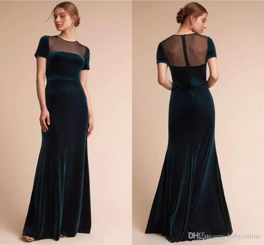 cc3dbd63802 Elegant Dark Green Mermaid Bridesmaid Dresses Crew Neck Short Sleeves  Velvet Prom Dress Formal Wedding Guest Dresses Custom Made BC0947 Designer  Bridal ...
