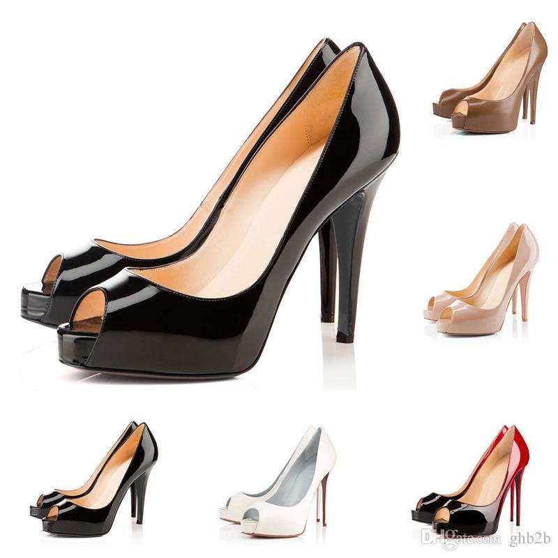 a6879d34210dfb Acheter Top Qualité Chaude Sexy Bouche De Poisson Femmes Chaussures À  Talons Hauts En Cuir Verni Daim Rouge Bas Pompes Chaussures Gradient  Diverses Couleurs ...