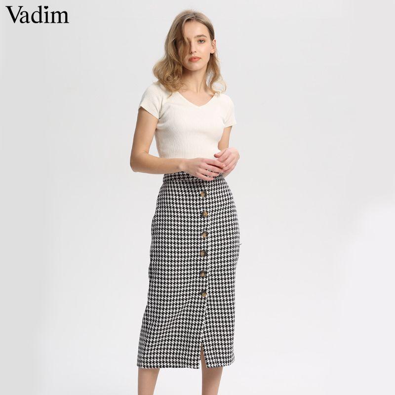 c8b4fbb0de 2019 Vadim Women Vintage Plaid Midi Skirt Faldas Mujer Houndstooth Buttons  Retro Ladies Office Wear Casual Chic Skirts BA138 Q190424 From Shen05, ...