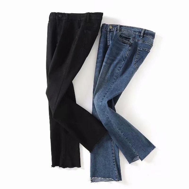 3620c162ad58 2019 Korean Black High Waist Slim Jeans Pants Female Ankle Length Irregular  Burr Skinny Flare Pants From Xiatian5, $39.48 | DHgate.Com