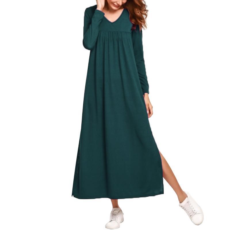 284543c8c9a Fashion Women Loose Maxi Dress Solid Color Ruched Long Sleeve Autumn Dress  V Neck Elegant Ladies Plus Size Long Dress 4XL 5XL Women S Dresses Knit  Dresses ...