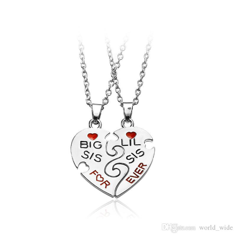 3271884f40 Wholesale Big Sis Lil Sis Big Little Sister Best Friends Forever Broken  Heart Pendant Necklace Sister Gift Jewelry Collares Mens Necklace Handmade  Jewellery ...