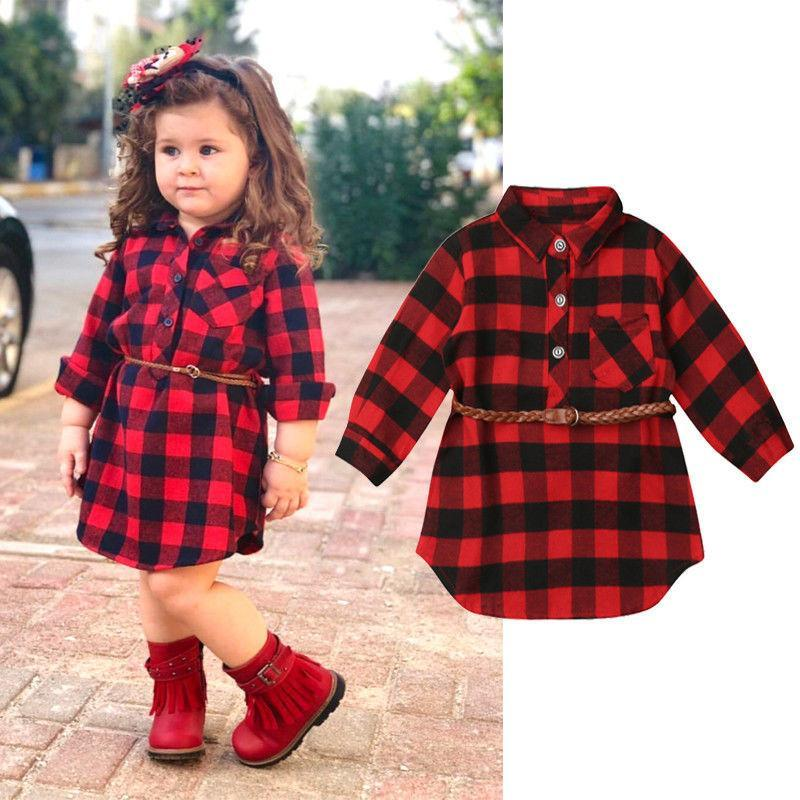 Fashion Girls Christmas Clothes Kids Baby Girls Red Plaid Outfits Long Sleeve Pocket Princess Party Shirts Dress Belt 2Pcs 0-5Y