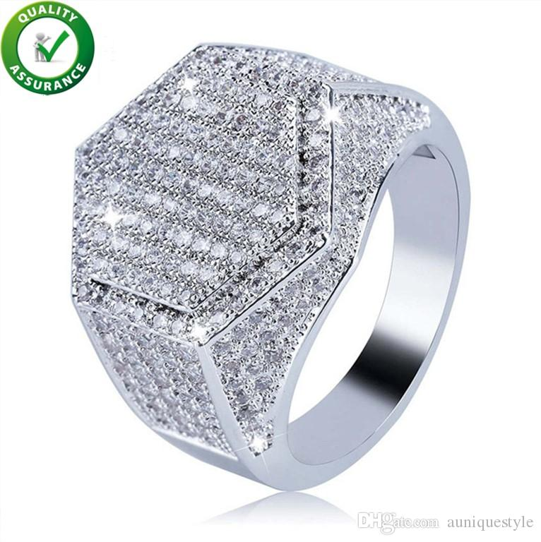 f012ef12429 2019 Hip Hop Jewelry Mens Ring Diamond Rings Luxury Designer Gold Silver  Iced Out Bling Micro Pave CZ Geometry Finger Ring Charms Fashion Wedding  From ...