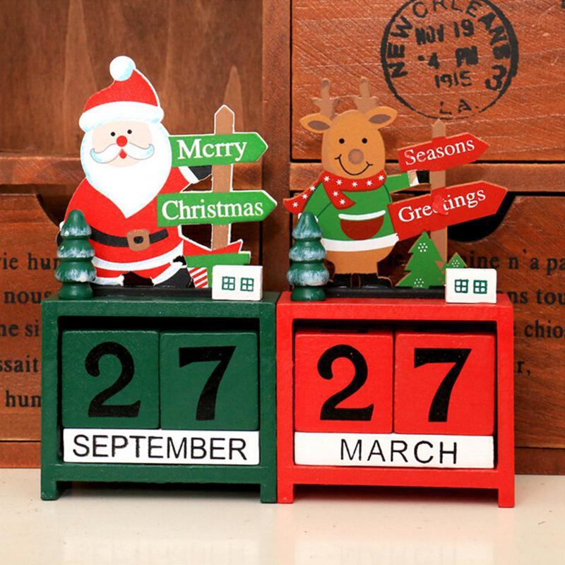 Weihnachtskalender Elch.Weihnachtskalender Dekoration Schreibtisch Bürobedarf Weihnachtsmann Design Schneemann Elch Block Weihnachten Holztisch Tischkalender