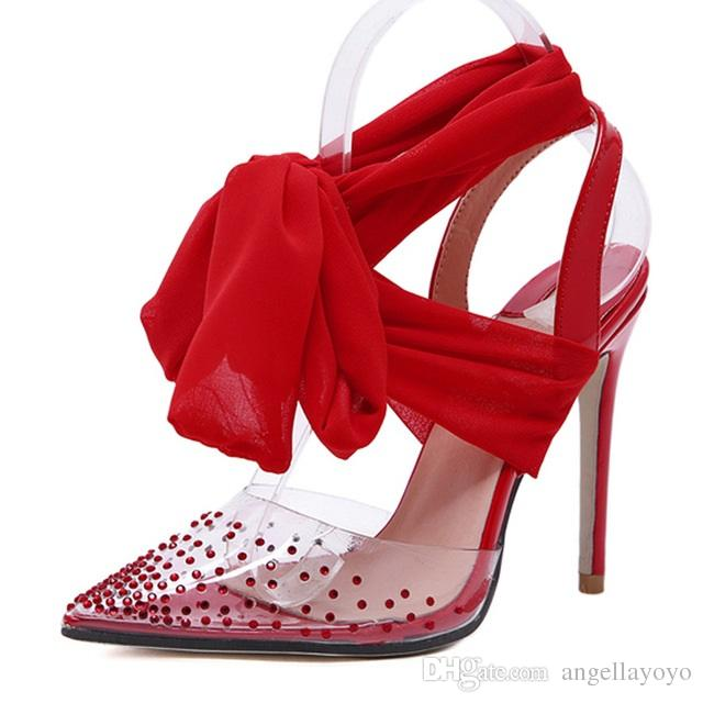 313858179a8 New Women high heels Sexy Pumps Stiletto Pointed toe Party Ankle Strappy  high heels Red Black Ladies Wedding shoes