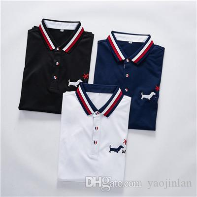 2019 international brand designer based on classic simple four horizontal stripes summer men's Polo short sleeve TB055 America's most fashio