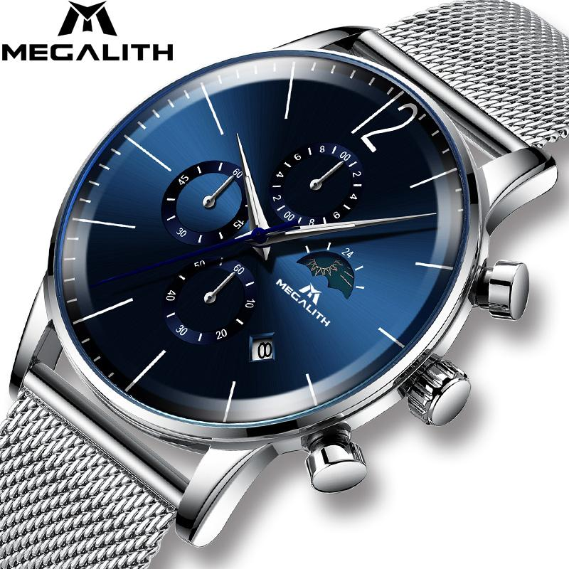Reloj Moda Deporte Hombre Marcas Megalith Para Cronógrafo Hombres Relojes Impermeable Primeras De Azul Cuarzo Cara Pulsera 0P8nONwXk