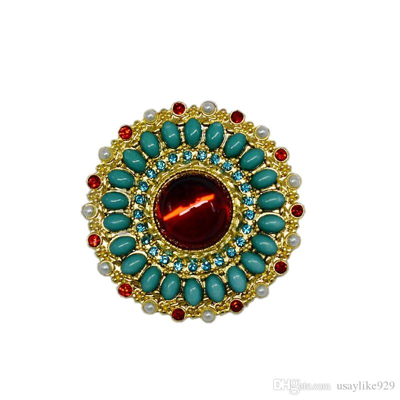 Europe and the United States retro Baroque new brooch enamel high-grade ruby inlaid rhinestones pearl brooch flowers female accessories