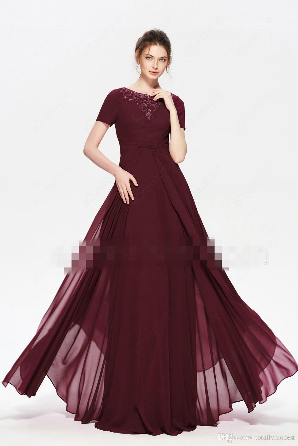 2bbf8b20257 Burgundy Beaded Modest Long Bridesmaid Dresses With Sleeves Jewel Neck A  Line Floor Length Women Modest Maids Of Honor Dress Royal Blue Bridesmaid  Dresses ...