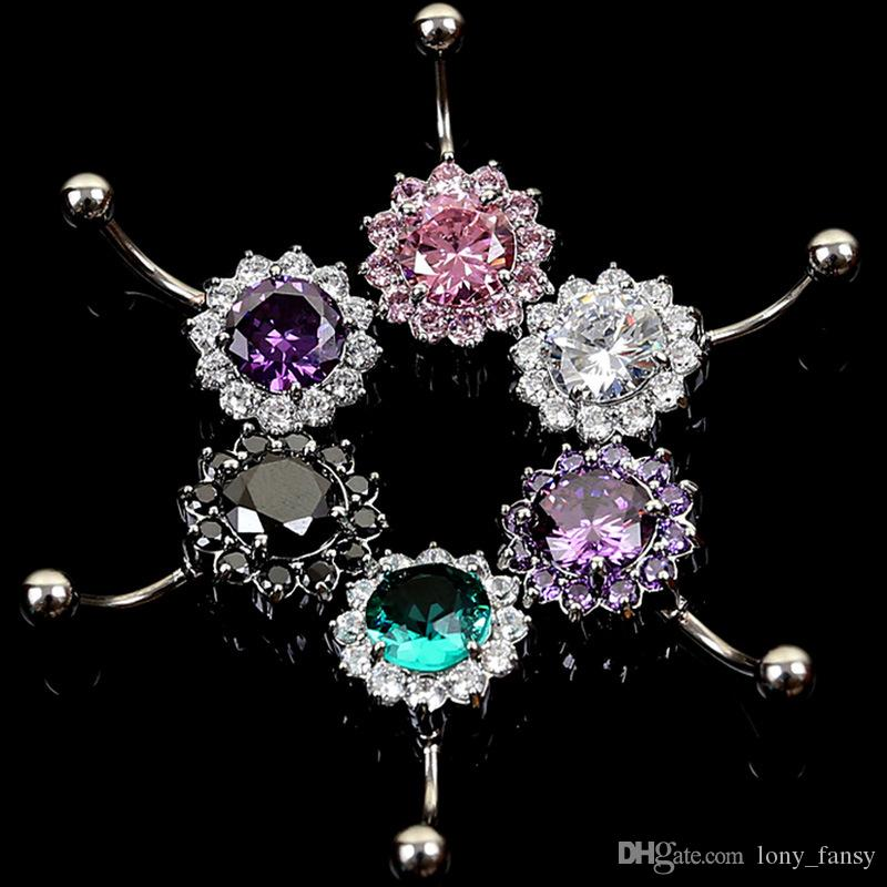 6 Colors Floral Shaped CZ 316L Stainless Steel Jewelry Navel Bars Silver Belly Button Ring Navel Body Piercing Jewelry