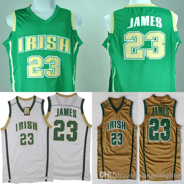 newest e3a60 bb37a Men college St. Vincent-St. Mary High School Irish jerseys white green  yellow #23 Lebron James adult size basketball jersey stitched