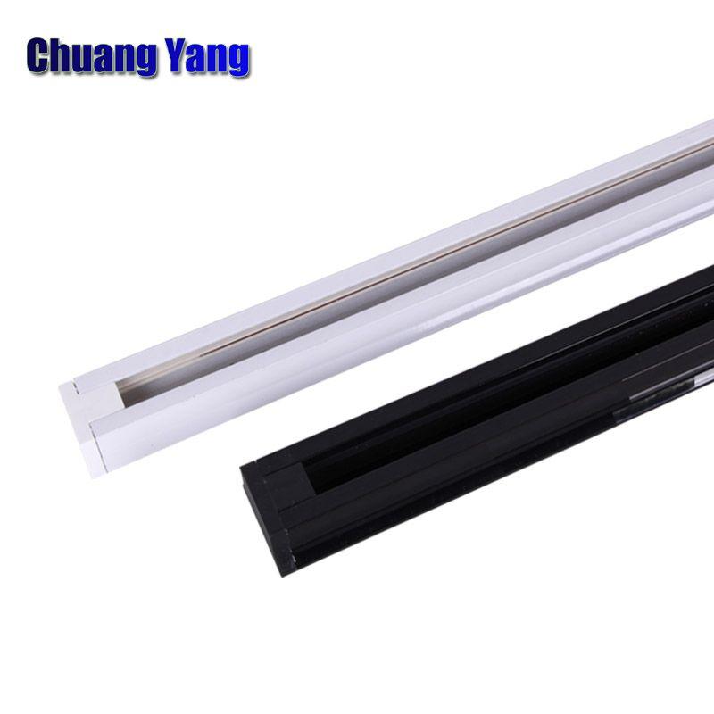 2 piezas / lote 0.5M Riel de riel para luz de riel LED Lámparas Iluminación Riel de aluminio universal de 2 hilos para tienda de ropa Conector de riel
