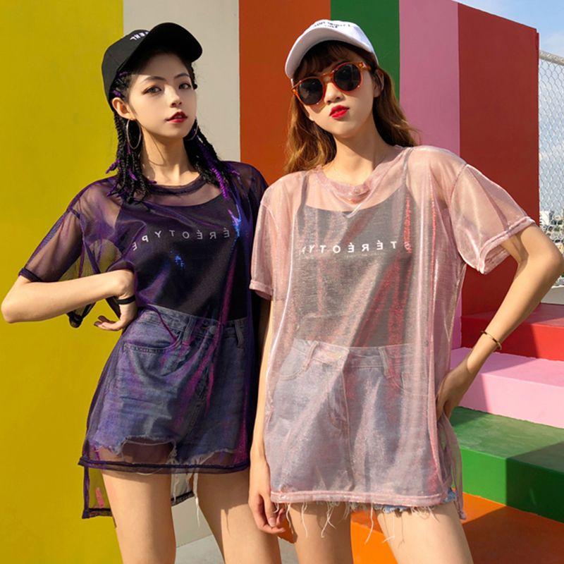 a096f7765080ef Ulzzang Korean Harajuku Top Women Mesh Tshirt + Black Camis Chic Shirts  Glitter Dropshipping C19041901