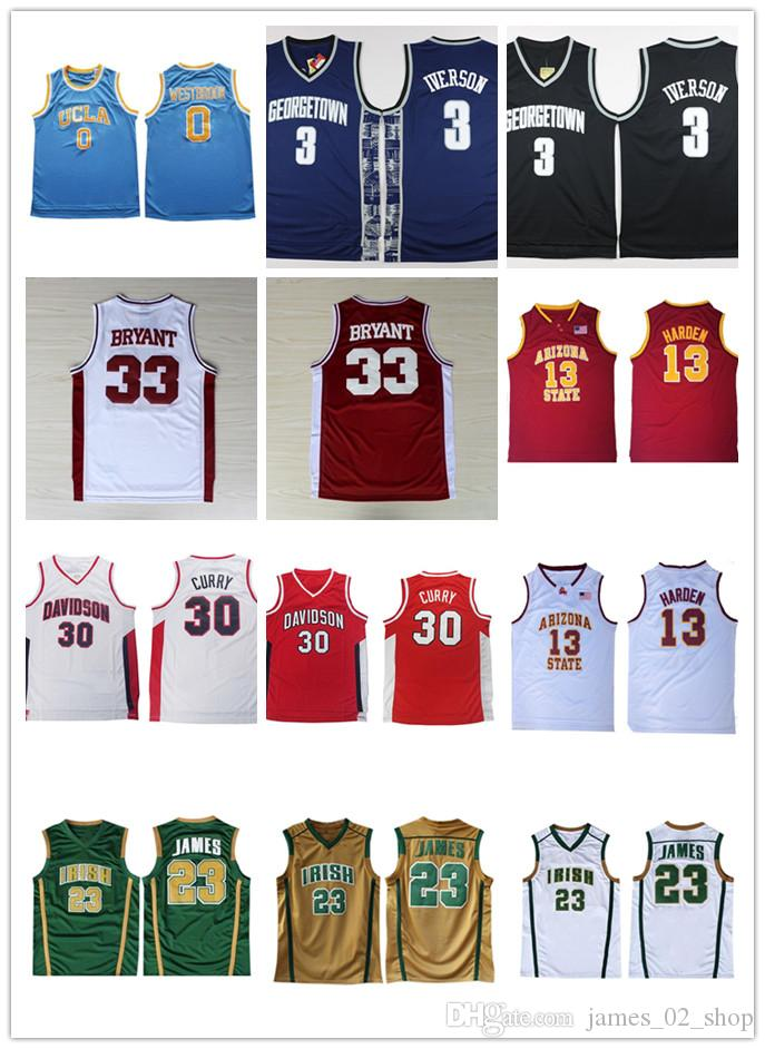 promo code adc09 23051 Men s Ncaa Nikola 15 Jokic Kyrie 11 Jersey Irving LeBron 23 James 13 Harden  Kobe 33 Bryant Irish High School University Basketball Jerseys