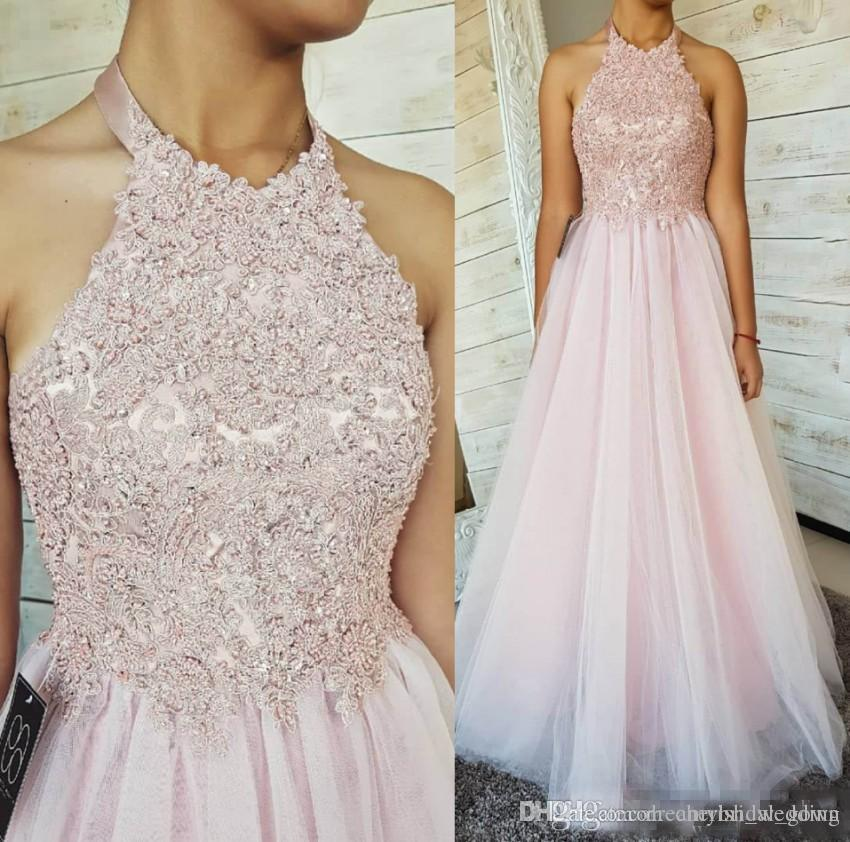25c85e59f4 2018 Pale Pink A Line Evening Dresses Formal Wears Sexy Backless Halter  Neck Lace Appliques Ruched Tulle Long Prom Gowns Evening Maternity Dress  Evening ...