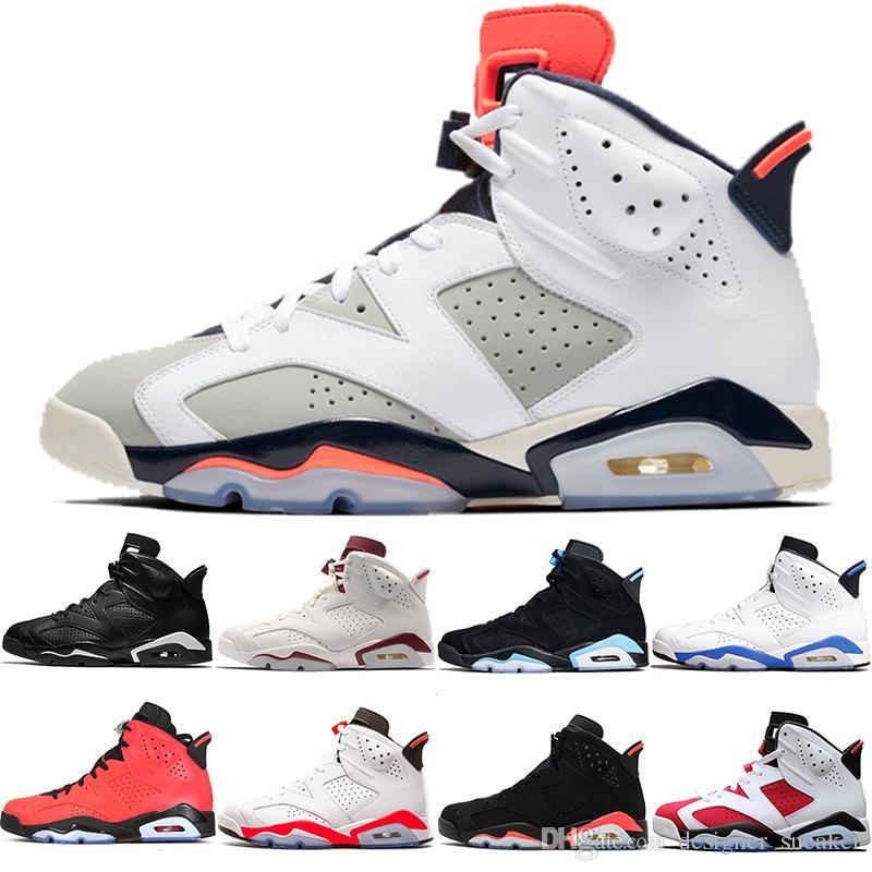 0267a193022b9b 2019 Designer Men 6 6s VI Basketball Shoes Tinker UNC Blue Black Cat White  Infrared Red Carmine Maroon Toro Mens Trainer Sport Sneaker Size 41 47 From  ...