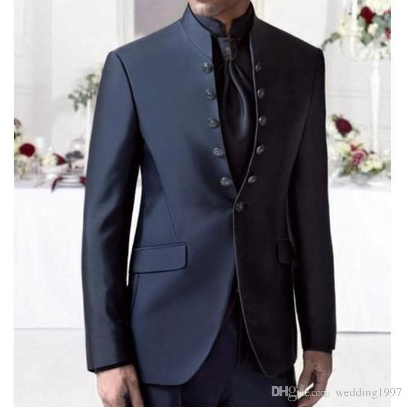 Mandarin Lapel Groom Tuxedos Six Buttons Navy Groomsmen Best Man Suit Mens Wedding Suits Two Piece Jacket Pants