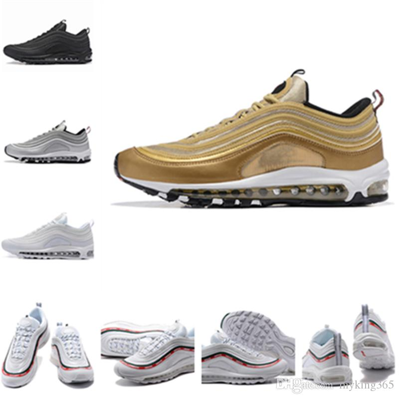 Mens trainer 97 shoes Triple white black pink air Running shoes max Og Metallic Gold Silver Bullet Women sports Shoes sneakers