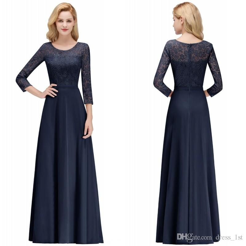 732484008b81 2018 Navy Blue Lace And Chiffon Mother Of The Bride Dresses With 3 / 4  Sleeves A Line Floor Length Formal Evening Dresses Cheap Designer Mother Of  The Groom ...