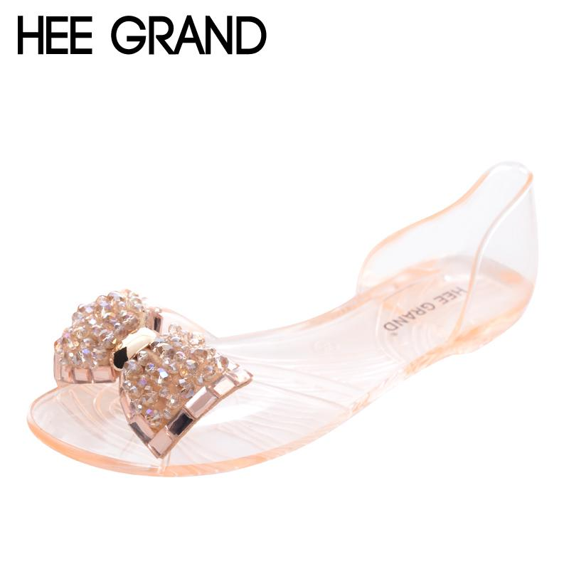 2f0d8f10d531 HEE GRAND Women Sandals 2017 New Summer Bling Bowtie Fashion Peep Toe Jelly  Shoes Woman Crystal Flats Size Plus 36 40 XWZ722 Purple Shoes Ladies  Footwear ...