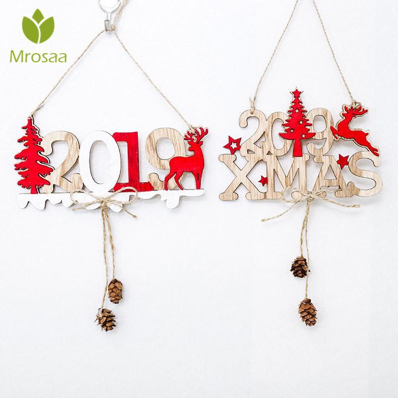 Deko Weihnachten 2019.2019 Weihnachten Silvester Türschild Anhänger Hängende Dekoration Holz Tropfen Ornamente Tür Hängen Weihnachtsbaum Anhänger