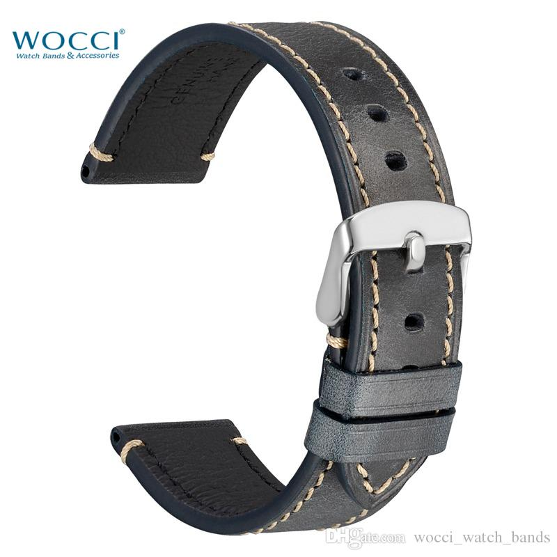 29cc24cf7 WOCCI Germany Crazy Horse Leather Watchbands Watch Replacement Bands Carbon  Black And Brown Compatible Wirst Width 18mm 20mm 22mm 24mm Timex  Replacement ...