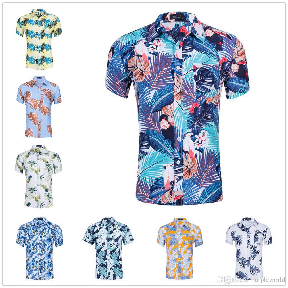 6163e054f369 Camisa de manga corta con estampado para hombres Hojas de piña Camisas con  estampado floral Ocio Playas playeras Camisas de solapa 100% algodón