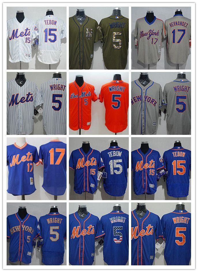 best service cc30c 4549b custom Men s women youth New York Mets Jersey #5 David Wright 15 Tim Tebow  17 Keith Hernandez Blue Baseball Jerseys