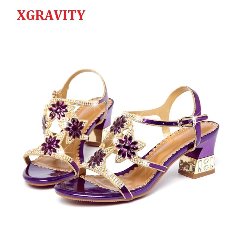 XGRAVITY Summer Shoes New Lady Chunky Heel Pumps Brand Rhinestone Design Women Shoes Elegant Ladies Sandals Female Footwear A080