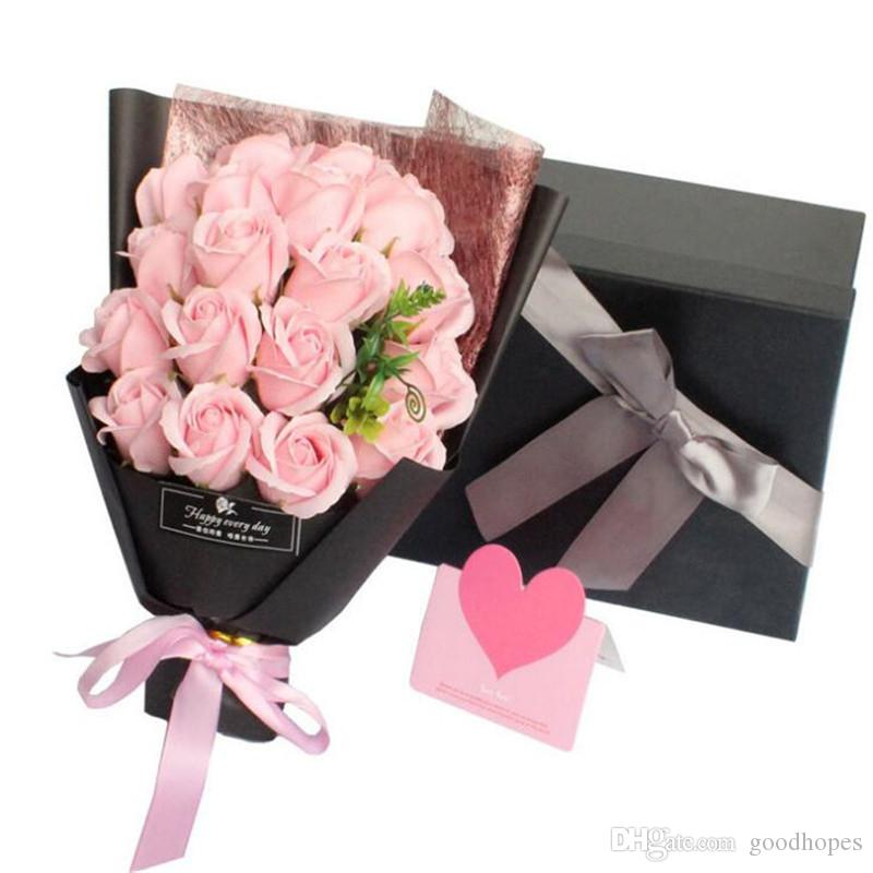 7e4e86eb1f4c6 2019 Creative Scented Soap Flower Rose Bouquet Soap Flowers Romantic Valentines  Birthday Gift Wedding Decoration With Gift Box From Goodhopes