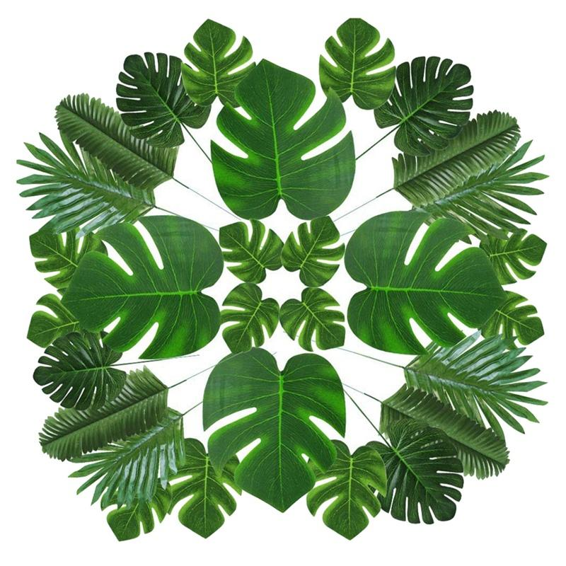 Artificial Palm Leaves Tropical Leaves for Party Decor Supplies for Hawaiian Luau Party Beach Theme Table Leaves,70 Pcs 6