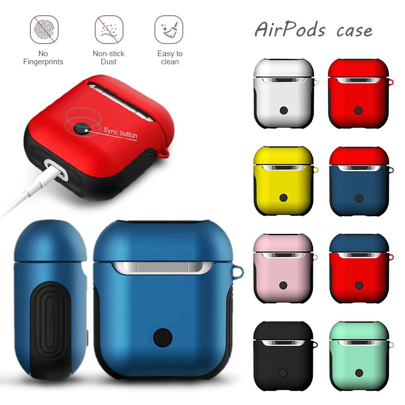 For Airpods 1 2 Case Soft TPU + PC Armor Case Shockproof Silicone Charging Box Bluetooth Earphone Case Cover For Apple Airpods Protect Bags