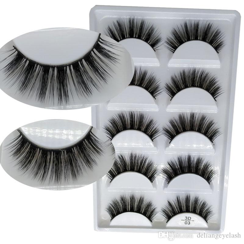 3D5D mink false eyelashes affordable installed 5 pairs of natural dense color long soft comfortable natural black can be repeatedly used fac