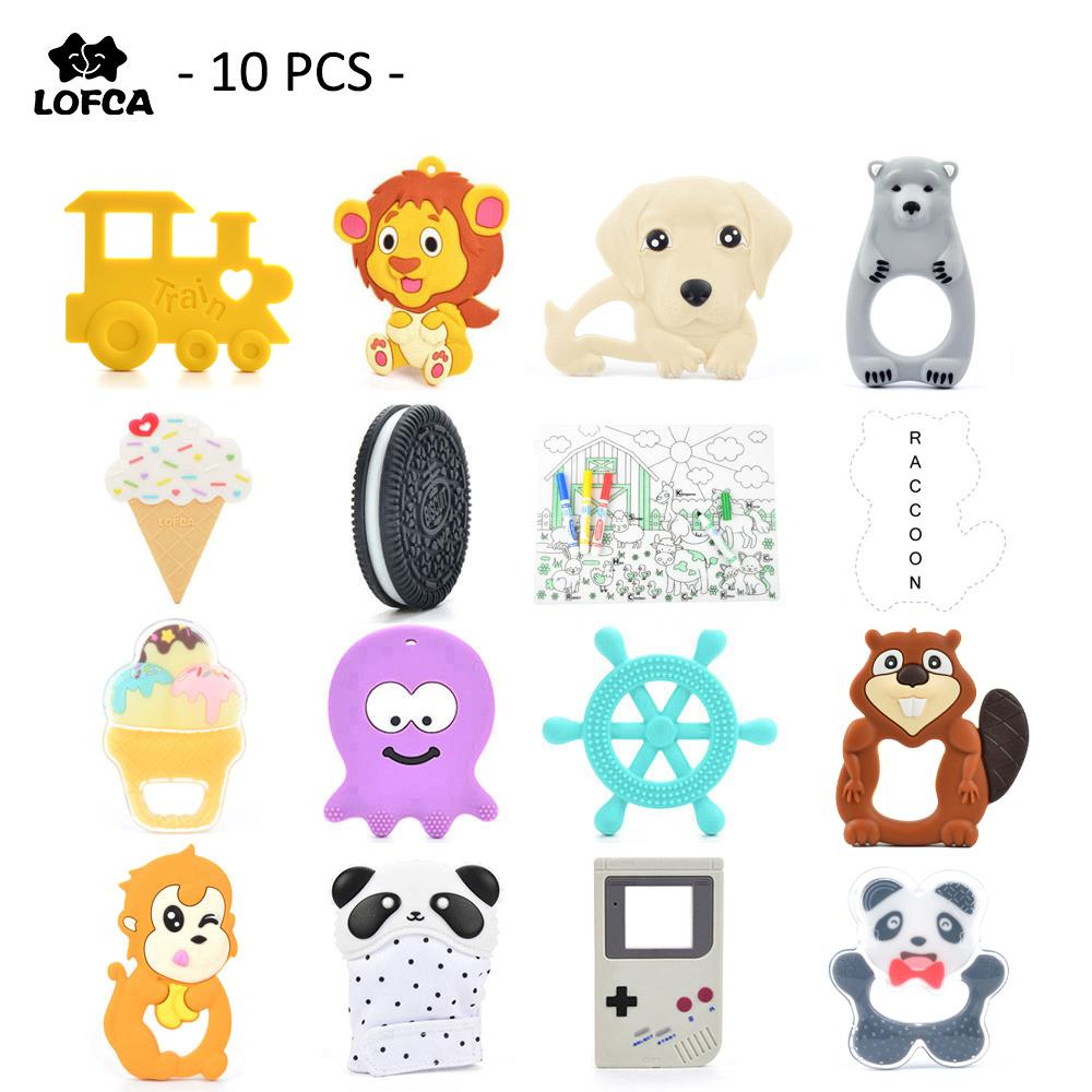 10 Pieces/ Lot Silicone Baby Teether Penguin Teething Monkey Pendant Raccoon Toy Giraffe Necklace For Silicone Lion Elephant J190517