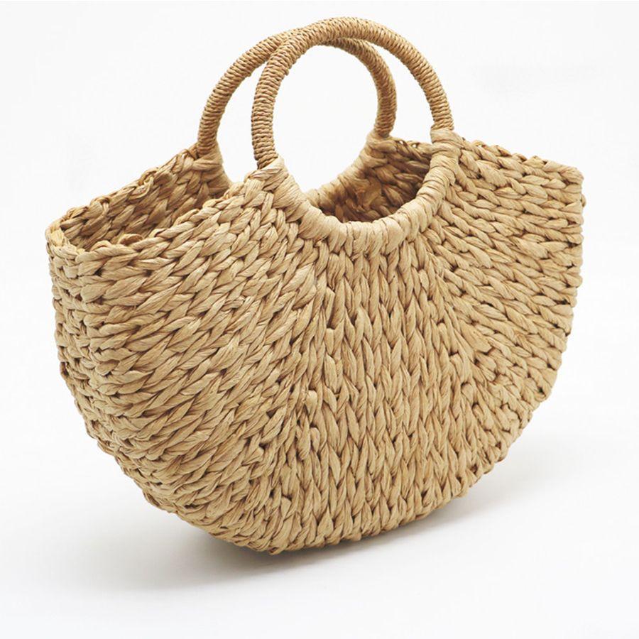 e8c7ee0ce Handmade Woven Straw Bag Corn Skin Summer Beach Handbag Women Semicircle  Bohemian Knitting Tote Half Moon Women Bags Brands New Leather Bags For  Women ...