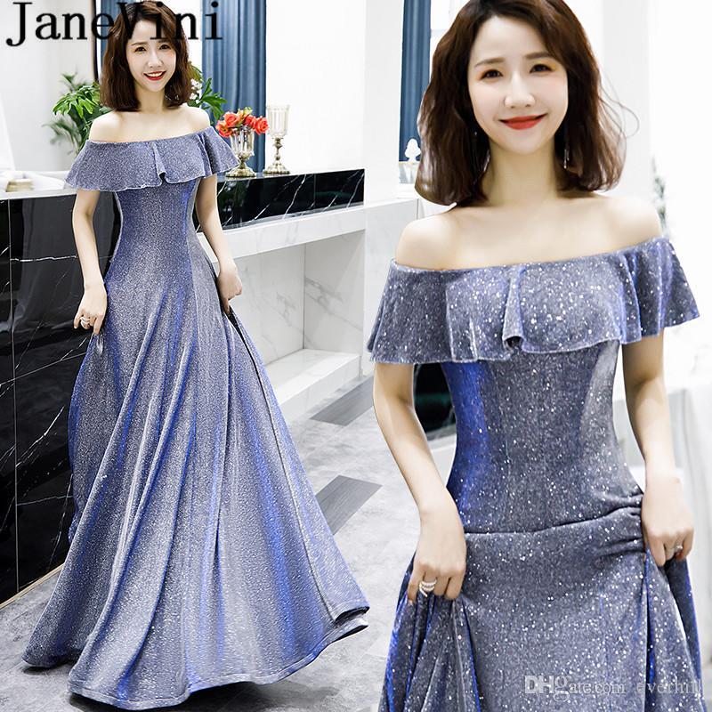 Cocktailjurk Lang.Janevini 2019 Blingbling Women Evening Dress Elegant Jurk Lang Long