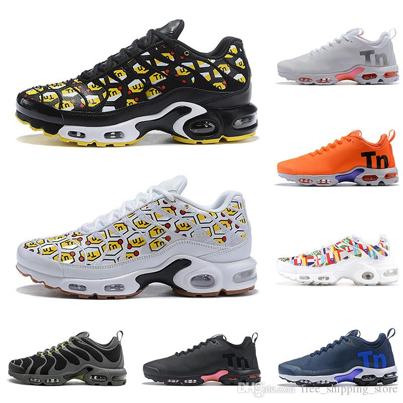 hot sale online 3ade5 1d2c3 Compre NIKE AIR MAX PLUS TN Zapatillas Para Correr Para Hombre Zapatillas  All Over Print Azul Marino Royal Orange Negro Blanco Diseñador De Zapatillas  ...