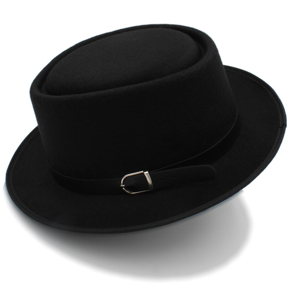 a066f840146 2019 Pork Pie Hat For Women Men With Fashion Leather For Dad Wool Flat Fedora  For Lady Gambler Trilby Hat Size 58CM From Maxcomet, $7.84 | DHgate.Com