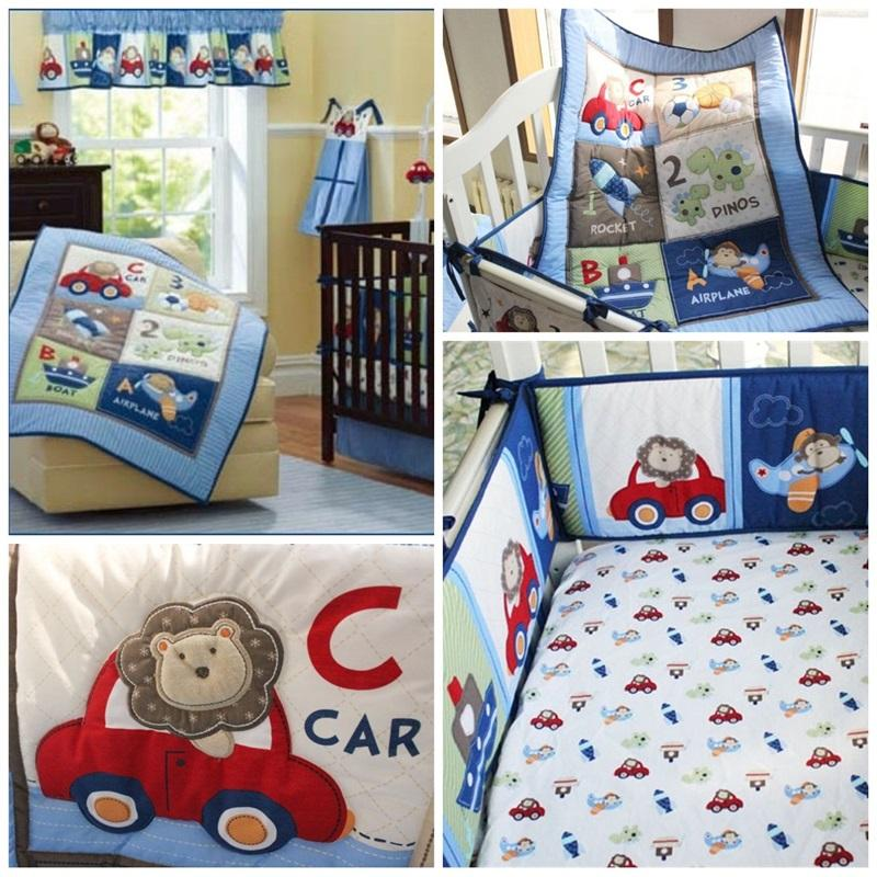 Boy Pilot Baby Crib Bedding Sets 4pcs One Kit Cartoon Animal Monkeys Airship Printed Children Bed Skirt Cover Suit 221dhE1