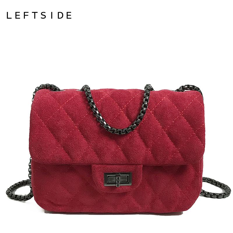 2019 Fashion LEFTSIDE Suede Leather Crossbody Bags For Women 2018 Female  Winter Small Flap Handbag Lady Quilted Plaid Cross Body Messenge Luxury Bags  ... ebbc42eb9f4d2