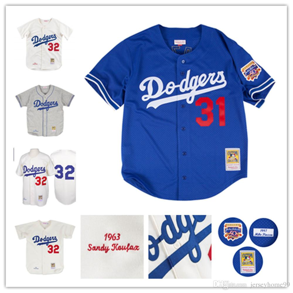 san francisco 12a17 ece02 Men's Dodgers Mike Piazza Jersey Sandy Koufax 1955 Jackie Robinson  Collection Mesh Batting Practice Baseball Jerseys