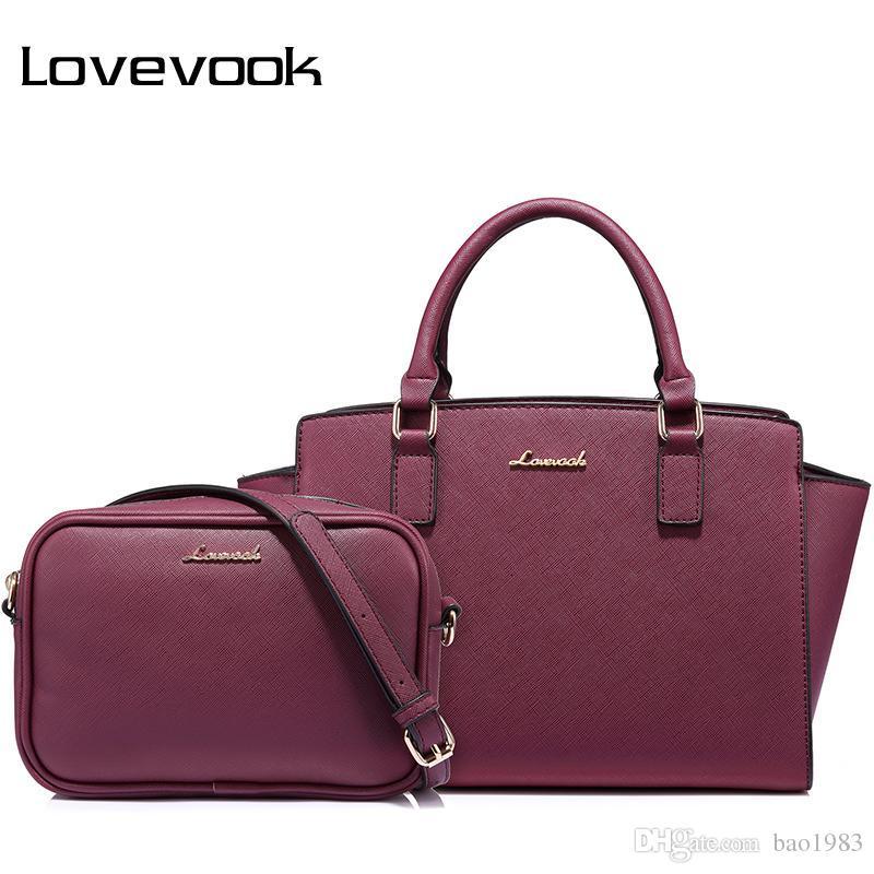 a12ff5b42 Compre LOVEVOOK Mulheres Saco Feminino Bolsas Grandes Senhoras Messenger Bags  Alta Qualidade PU Ombro Crossbody Bag Pequena Bolsa 2 Psc / Set 2018 De ...
