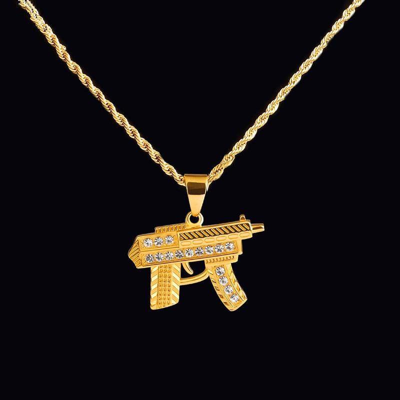 Hop Luxe Mitraillette Pour Bijoux Amant Diamant Hommes Acier Hip Collier Pistolet En Colliers De Inoxydable Pendentif 7gvyIbmYf6